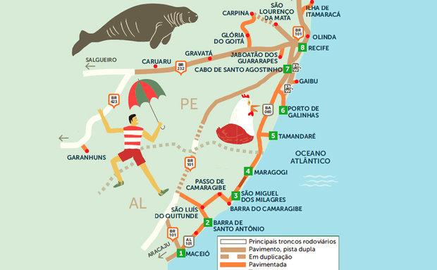 Rota Maceió até Recife